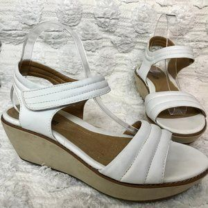 Clark's White Ankle Strap Wedge Sandals